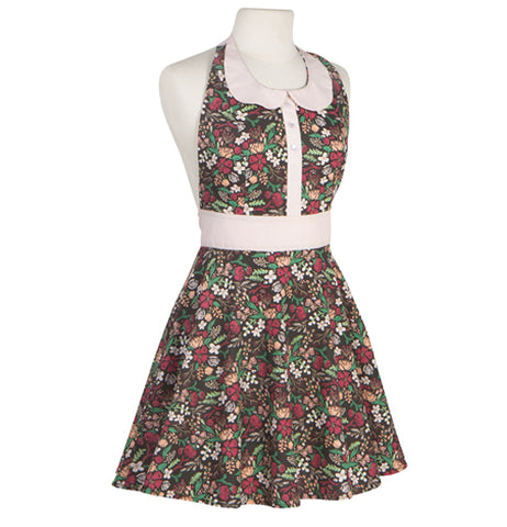 "The ""Night Bloom"" Zoe Apron has an adorable floral print with ""Peter Par"" collar, and a full skirt."