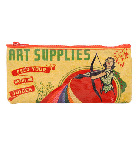 "This pencil case has a design of a woman shooting a pen from a bow like an arrow. In the upper left hand corner are the words, ""Art Supplies Feed Your Creative Juices"" in green, red, and yellow lettering."
