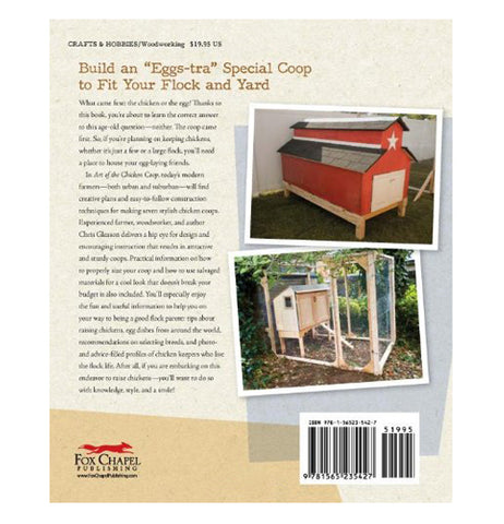 "The back cover of the garden book titled ""Art Of The Chicken Coop"" is shown with a few pictures of chicken coop buildings on it and a summary of what the book details."