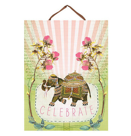 "Art Print ""Fancy Elephant"" with ""Celebrate"" written on it."