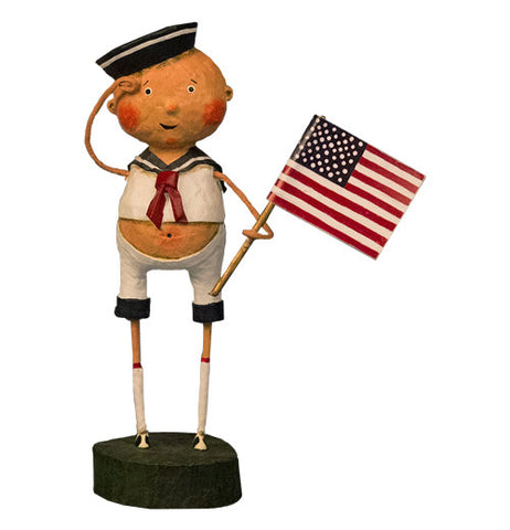 This figurine is of a man wearing a Naval Sailor's hat and uniform and holding an American flag.