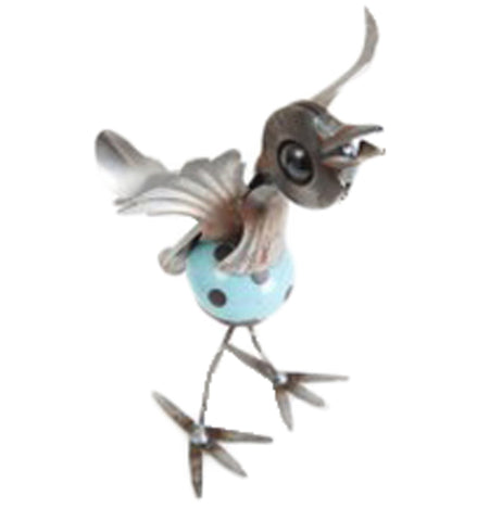 This is a metal bird sculpture with a blue ball with black dots making up its body.