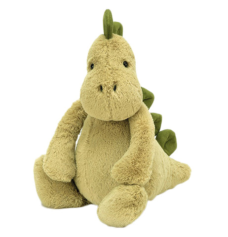 This olive green plush toy is shaped like a Stegosaurus, complete with leaf green spikes along the back and tail.