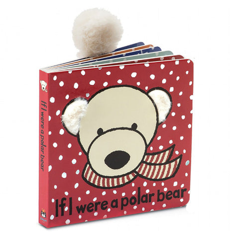 "This red book cover with falling snow features a white polar bear wearing a scarf, along with the title, ""If I Were a Polar Bear"" in black lettering."