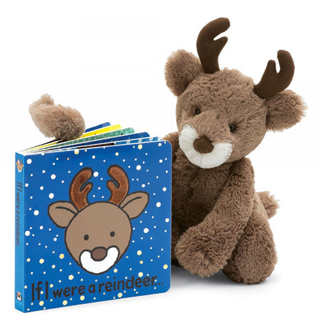 "The ""If I Were a Reindeer"" book alongside a stuffed brown reindeer"