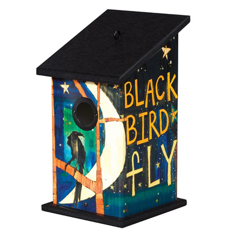 Birdhouse with Black Bird fly on it.