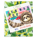 This adventure storybook has a picture of Cyril the sloth in front of a city street with a red car and turquoise car.