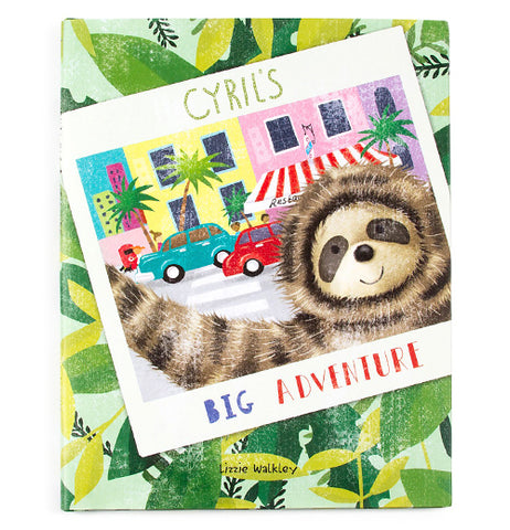 This adventure storybook has a picture of Cyril the sloth in front of a city street.