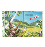 Two opened pages of the book show Cyril the sloth on a tree waving his leaf at a red and white airplane as it departs.
