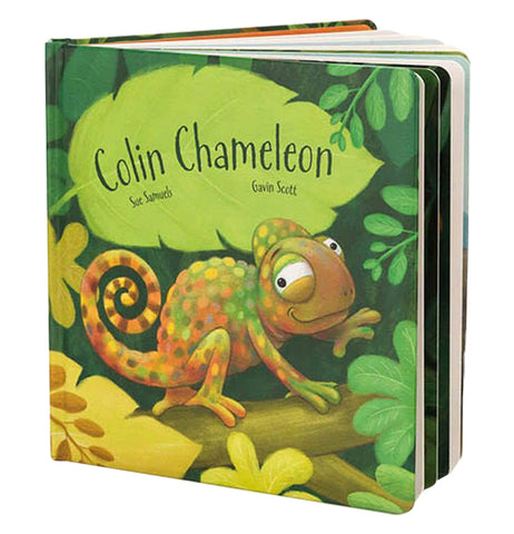 "The ""Colin Chameleon"" Board Book written and illustrated by Sue Samuels and Gavin Scott shows an illustration of the brown and green little chameleon sitting on a green plant surrounded by green and yellow leaves."