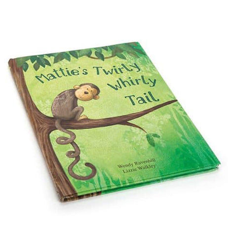 "A book cover featuring monkey with a curly tail in the tree with a green background with the title ""Mattie's Twirly Whirly Tail"" above him."