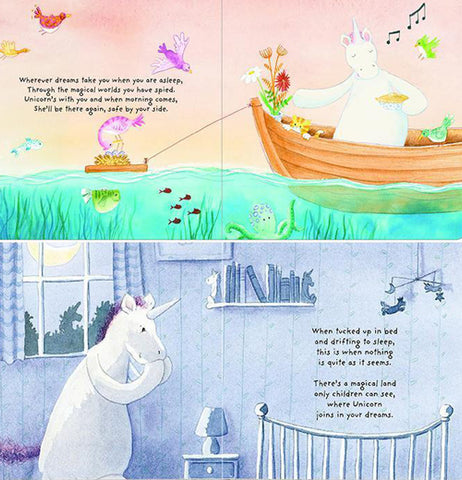 """Unicorn Dreams""  open to a page with the top half showing a rowboat with a fishing line going from it and the bottom half featuring a unicorn sitting on it sbutt and claspingi it front hooves together."