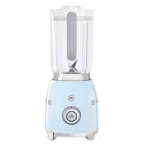 "A blender with a pastel blue base is on its' base. The top is on. ""Start/stop"" and wifi buttons are visible."