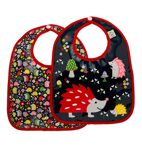 These two baby bibs have a hedgehog theme with a black background