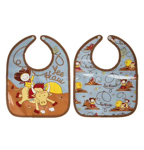"2 set baby bib blue with cowboy theme and says ""Yee Haw"""