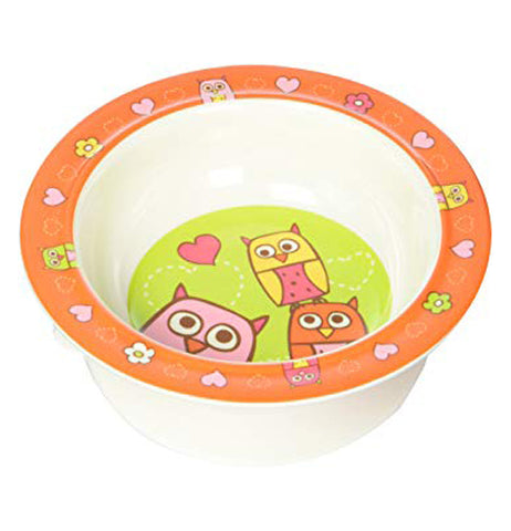this owl bowl has pink, yellow and orange owls on it.