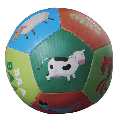 This ball features illustrations of different farm animals. A cow is shown on the emerald green side of the ball. Against the blue spot on the ball is a sheep, and against the lighter green spot is a rooster.