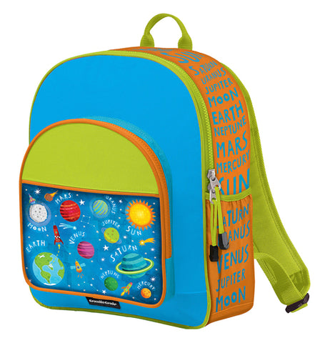 Green, orange, and blue backpack with a picture of the solar system on the front pocket.