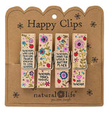 This set of 4 clips attached to their cardboard packaging has different floral designs and different messages about teachers in black lettering.
