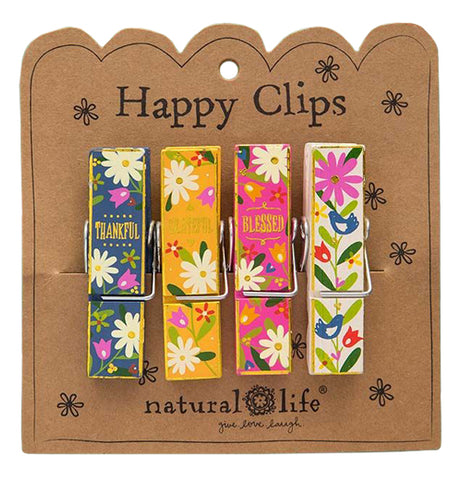 This set of different colored clips has a floral design and a different word of thanks for every one of them.