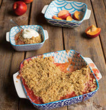 Porcelain Baking Dishes with displays of baked pastry and fruit
