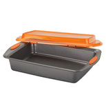 "The orange lid opening the gray Covered ""Oven Lovin"" Baking Dish."
