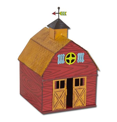 Red, yellow and black fairy garden barn. The barn doors are open on a white background.