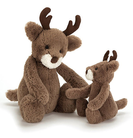 The plush reindeer shown with a smaller size version next to it