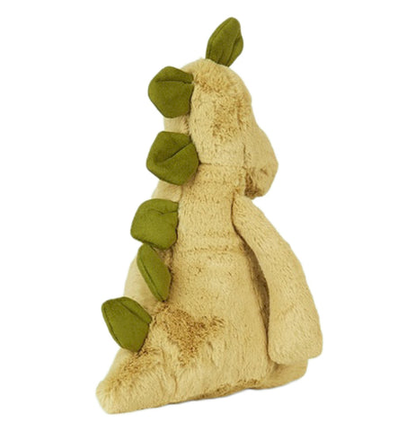 The olive green Stegosaur toy with the leaf green spikes is shown from behind..