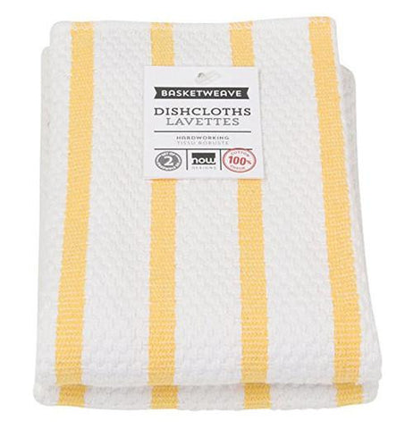 Dishcloth with large white stripes and skinny yellow stripes.