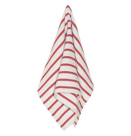"The Dish Towel ""Basketweave"" shows the hanging of the red and white stripes."