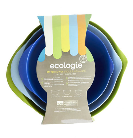 Set of three batter bowls: small is dark blue, medium is light blue, large is green.