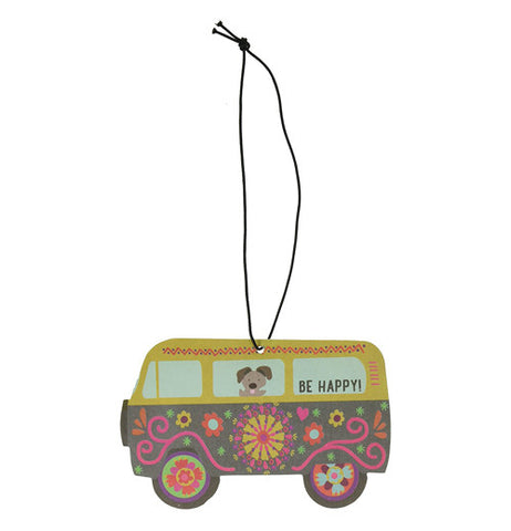 Multi-colored flower hippy van air freshener with a string for hanging from your rear view mirror.