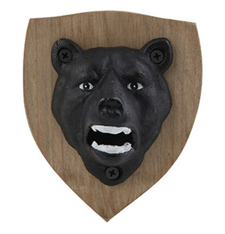 Majestic Bear bottle opener with wooden plaque background and a brown bear head.