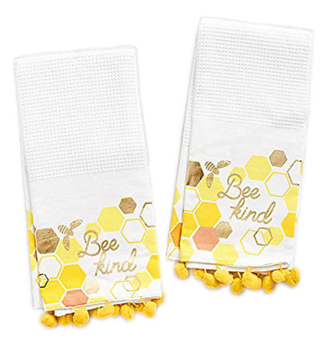 "Set of 2 yellow pom edged white waffle weave kitchen towels with yellow, red, and gold honey comb design that says ""Bee Kind"" in gold foil."