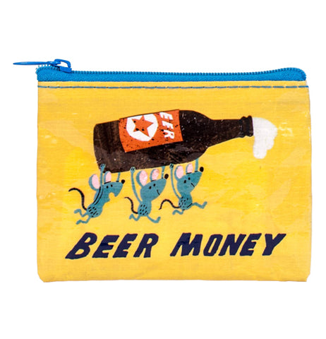 "The Coin Purse ""Beer Money"" has a design of three mice carrying an open bottle of beer over the words, ""Beer Money"" written in black on a yellow background."