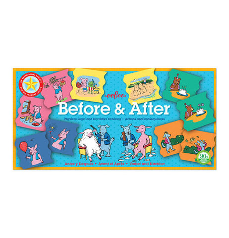 "The ""Before and After"" Educational Game has playful illustrations that depict many real-life situations."
