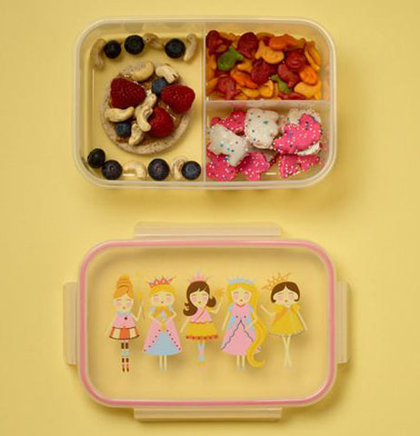 Clear Plastic Princess Bento Box with Displays of Fruit and Crackers