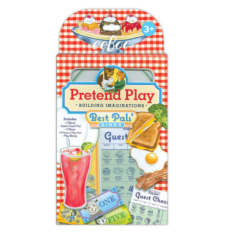its in a pretend play in its packaging with pictures of grilled cheese and a piece of bacon and a egg and a drink as well