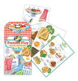 The pretend play package with the menu card, and several sheets of the pretend food items, like grilled cheese, ice cream sunday and coffee, in the background