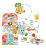 the pretend play package with the menu card and several of the pretend play food items like ice cream sunday, a glass of orange juice a guest card, and a grilled cheese sandwich being served on a plate