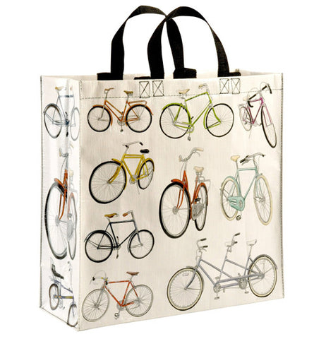white reusable shopping bag with short black handles and a variety of different model bicycles in a wide range of colors.