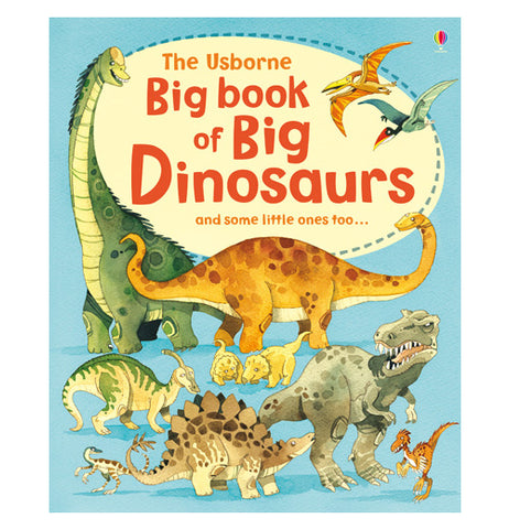 "This large blue book pictures a variety of herbivorous and carnivorous dinosaurs, all of varying sizes. Two flying reptiles are shown near the top of the cover. In the middle of a beige circle is the title, ""The Usborne Big Book of Big Dinosaurs and some little ones too"" in orange and red lettering."