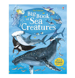 "This blue book shows different ocean creatures, such as a manta ray, swordfish, hammerhead shark, humpback whale, jellyfish, tuna, marlin, and some other fish. In the middle of a light blue circle is a title, ""Usbourne's Big Book of Sea Creatures"" in yellow and white lettering."