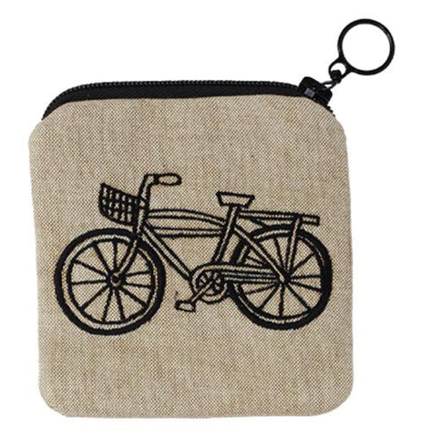This tan colored purse with a black zipper features the outline of a bike in black lines.