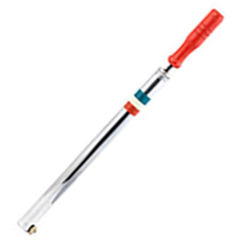 This bike pump has a red handle with green, white, and red stripes on its steel gray shaft.