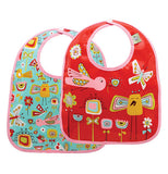 2 set baby bibs, both have birds and butterflies, one is with turquoise back ground the other is red back ground