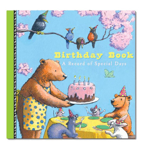 The front cover of the book shows a bear serving a cake a squirrel, mice, a baby bear and a bunny.