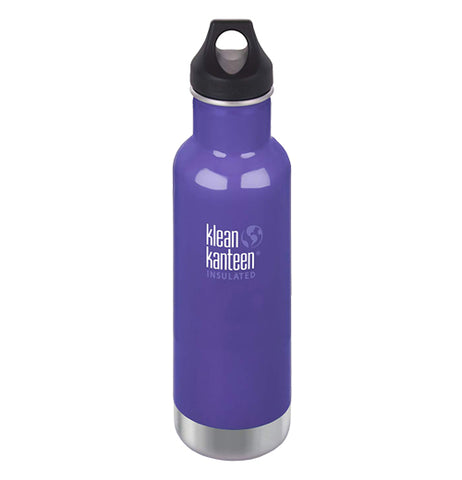 The purple steel water bottle with a loop cap and the Klean Kanteen logo printed in the center is shown individually.