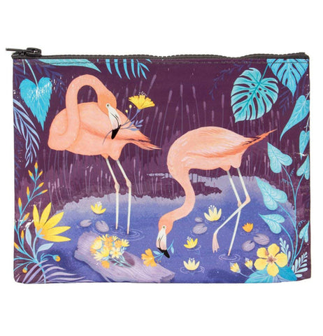 The Zipper Pouch shows picture of two pink flamingos drinking at the pond.